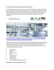 Private Label And Contract Supplement Manufacturing In The US.docx