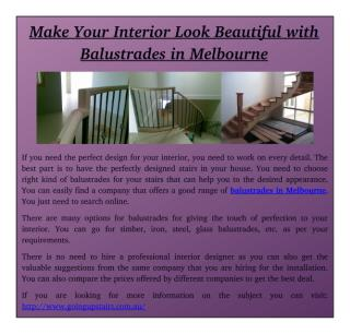 Make Your Interior Look Beautiful with Balustrades in Melbourne.pdf